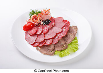 thin slices of sausage and meat on a plate white background...