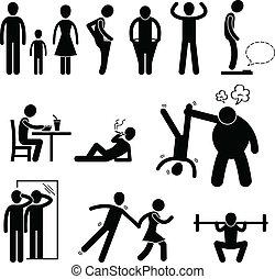 Thin Slim Skinny Weak Man - A set of pictogram representing...