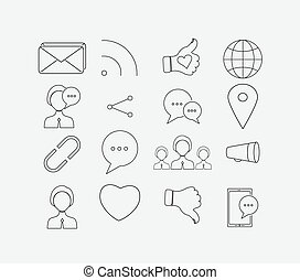 Thin social icon set