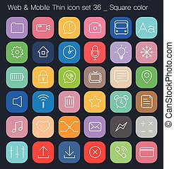Thin Style icon set - color square