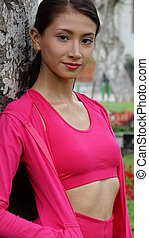 Thin Teen Girl Fitness In Pink