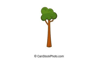 Thin tree icon animation cartoon best object isolated on white background