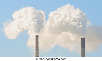 Thin tube power plants emit smoke (Shot in Full HD -...