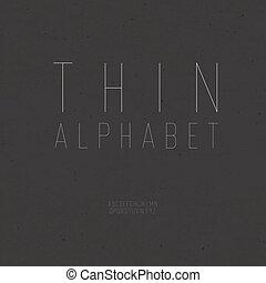 Thin vintage alphabet (uppercase). With textured background,...