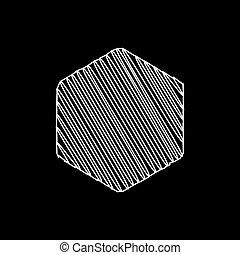 Thin White Sketchy Hexagon Background