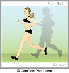 thin woman runs, and thick shadow chasing her