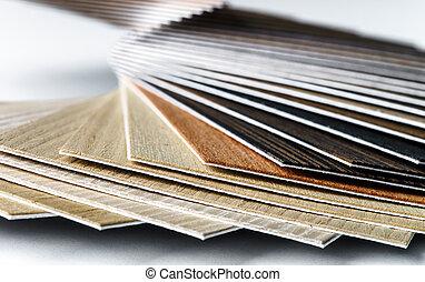Thin wooden samples sheaf. Interior design industry.