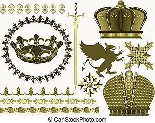 Things and symbols of the Middle Ages a sword, a crown, a griffin in a vector