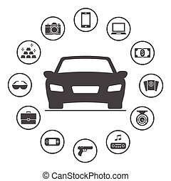 Things commonly stolen from cars. Simple rounded insurance icons set. Vector icon design