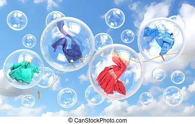 things falling in soap bubbles concept of clean washing and ...