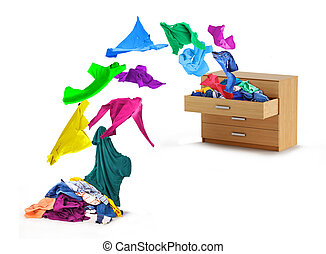 Things flying out of a dresser on a white background