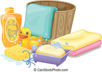 Things needed in taking a bath - Illustration of the things...