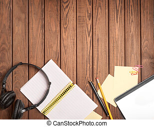 things on a wooden background