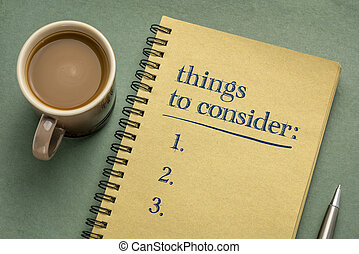 things to consider list in notebook - things to consider ...