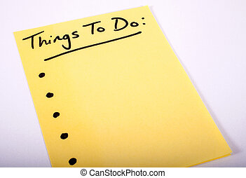 Things to Do written on a piece of Note Paper.