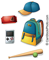 Illustration of the things used by a typical young boy on a white background