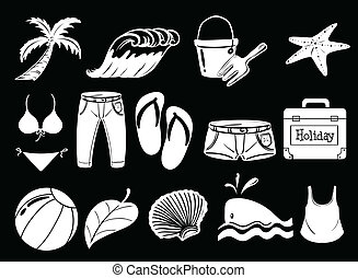Things used during summer - Illustration of the things used...