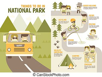 things you enjoy in national park - infographics cartoon...