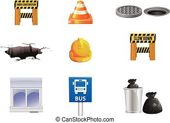 Things you see in the streets - Vector illustrtion or icons...