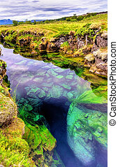 thingvellir, fissure, tectonique, islande, national, parc ...