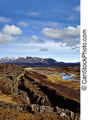 Thingvellir national park is the site of a rift valley that marks the crest of the Mid-Atlantic Ridge