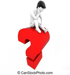 THINK - 3D human and a question mark - 3D CG human and a red...