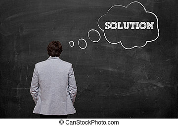 Think about solution - businessman think about solution at...