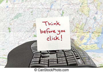 """Think Before You Click - Square note paper with phrase, """"..."""