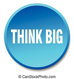 think big blue round flat isolated push button