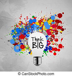 colorful splash colors lightbulb crumpled paper background as co