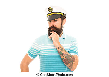 Think blue and go green. Serious seaman with beard isolated on white. Serious look of bearded man. Solving problem. Serious thought. Dilemma. Thinking on problem. Thoughtful and serious