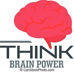 Think brain power logo, flat style