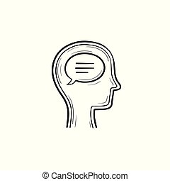 Think bubble in humans head hand drawn outline doodle icon.