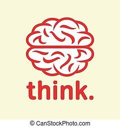 think., cerveau, icône