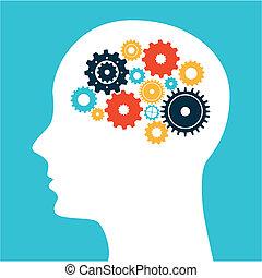 think, design - think design over blue background vector ...