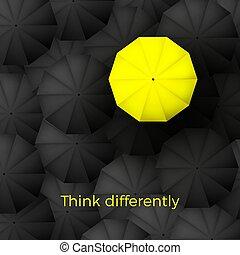 Think different business concept. One yellow unique parasol ...