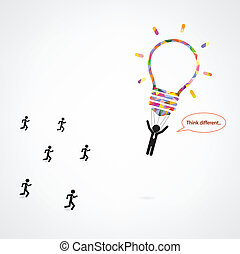 Think different, stand out from crowd. vector illustration ...