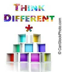 Think different with colorful 3d design illustration