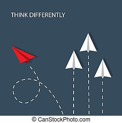 several white paper planes fly straight up and one red paper plane flies sideways and chooses another path