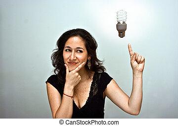 Woman having a brilliant environmentally friendly idea