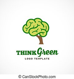 Think Green Abstract Vector Eco Logo Template. Brain Tree Illustration with Typography.