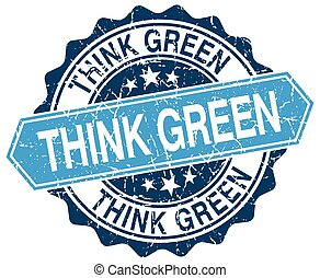 think green blue round grunge stamp on white