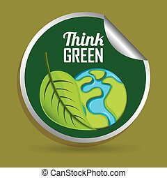 Think green design - Think green concept with eco icons...
