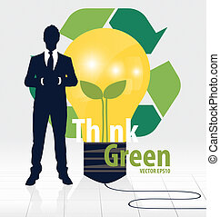 Think green, Eco concept. Light bulb with Tree and Recycle symbo