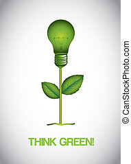 think green - green electric bulb ove gray background....