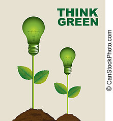 think green - green electric bulbs conceptual over beige...