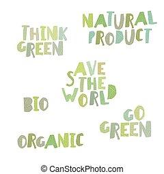Think green, Natural product, save the world, bio, organic, go green. Leaf Cut Alphabet.