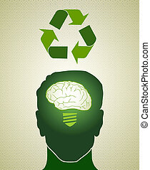 Think Green recycling man - Man head with brain green idea...