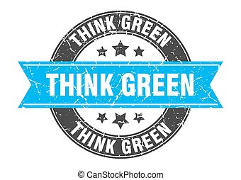 think green round stamp with ribbon. label sign