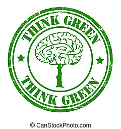 Think green stamp - Think green grunge rubber stamp with...